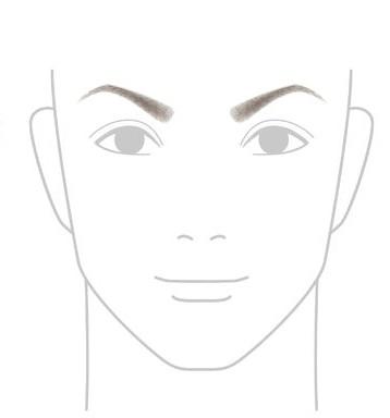 細めの「へ」の字の眉